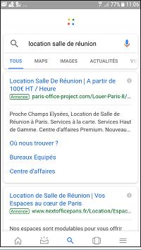 Affichage des résultats payants dans Google sur le mobile.