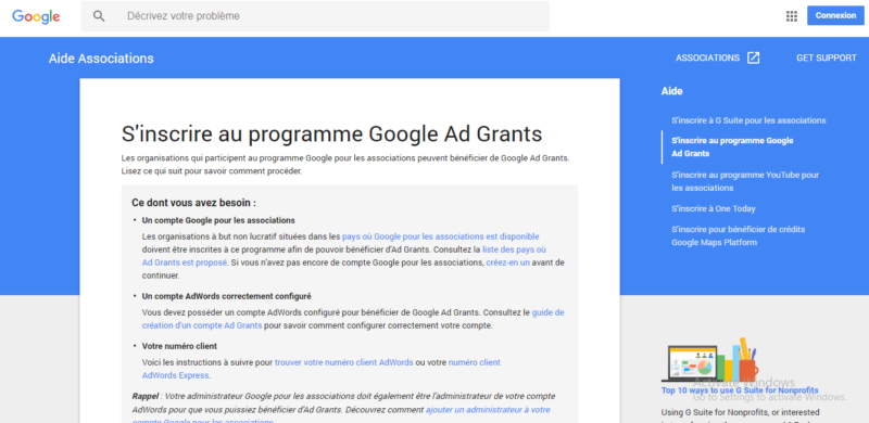 campagne google ad grants