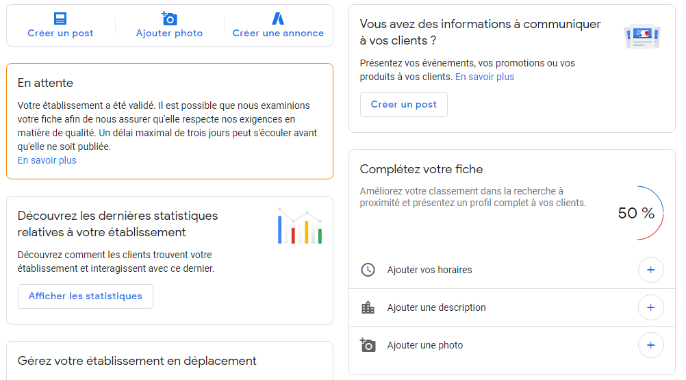tableau de bord Google my business